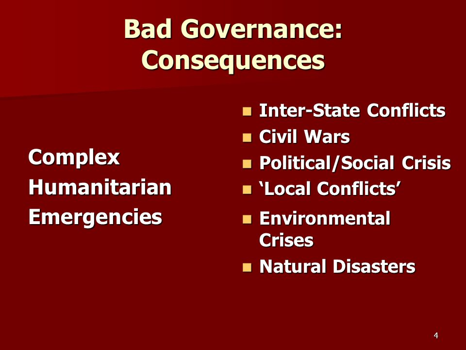 Bad Governance: Consequences ComplexHumanitarianEmergencies Inter-State Conflicts Inter-State Conflicts Civil Wars Civil Wars Political/Social Crisis