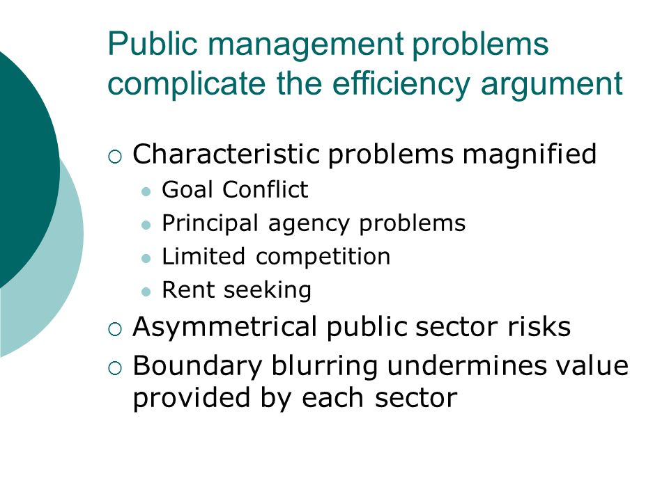 Public management problems complicate the efficiency argument Characteristic problems magnified Goal Conflict Principal agency problems Limited competition Rent seeking Asymmetrical public sector risks Boundary blurring undermines value provided by each sector