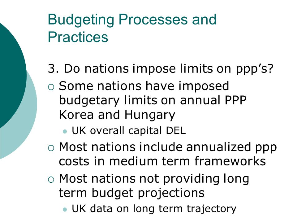 Budgeting Processes and Practices 3. Do nations impose limits on ppps.