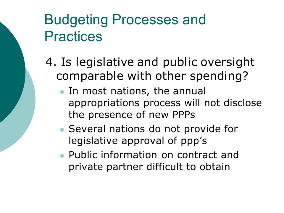 Budgeting Processes and Practices 4.