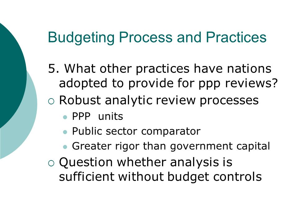 Budgeting Process and Practices 5.