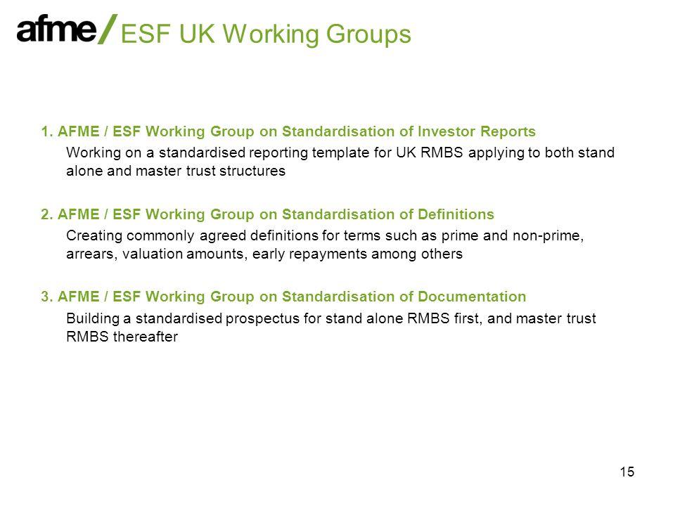 15 ESF UK Working Groups 1.