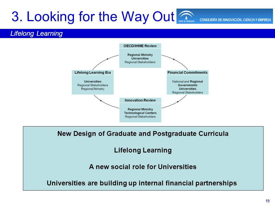 19 3. Looking for the Way Out Lifelong Learning New Design of Graduate and Postgraduate Curricula Lifelong Learning A new social role for Universities