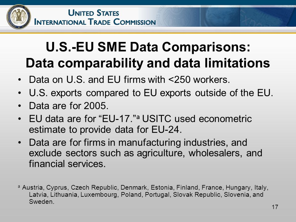 17 U.S.-EU SME Data Comparisons: Data comparability and data limitations Data on U.S.