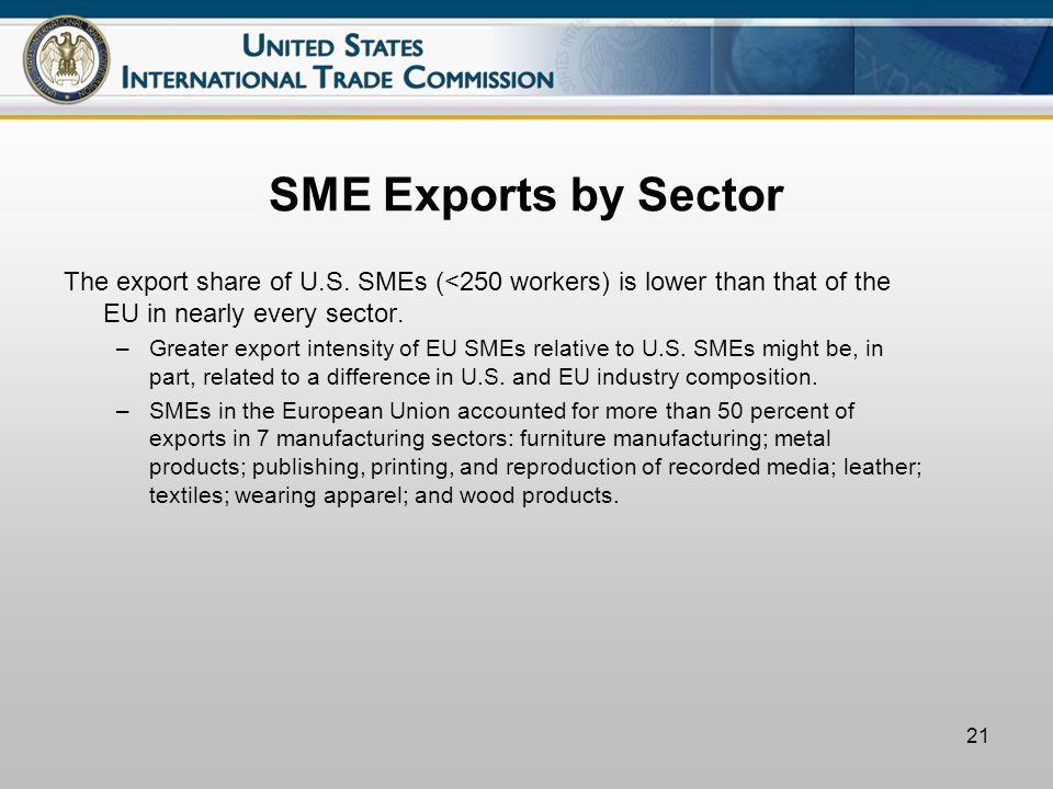 21 SME Exports by Sector The export share of U.S.