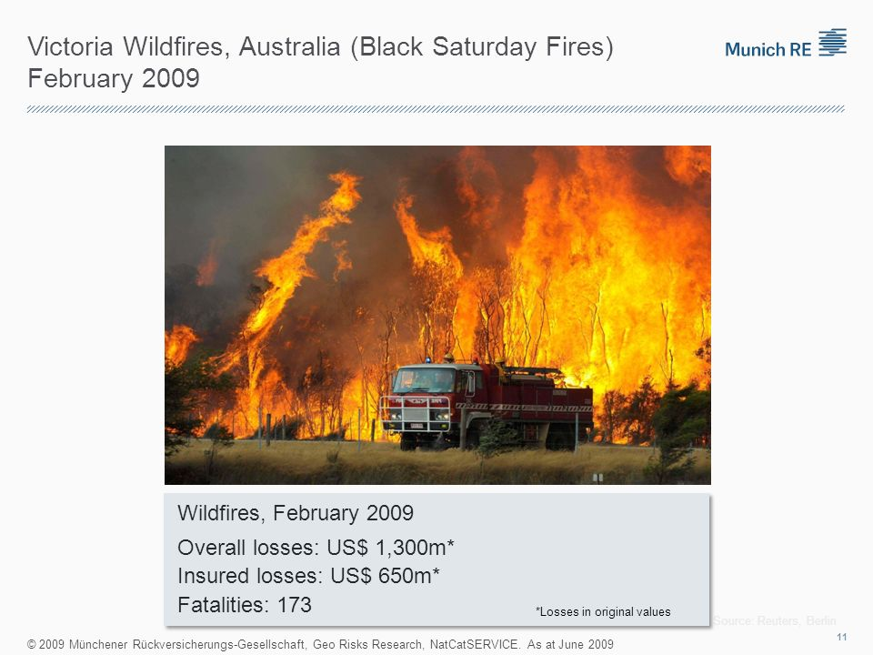 Victoria Wildfires, Australia (Black Saturday Fires) February 2009 Source: Reuters, Berlin © 2009 Münchener Rückversicherungs-Gesellschaft, Geo Risks Research, NatCatSERVICE.
