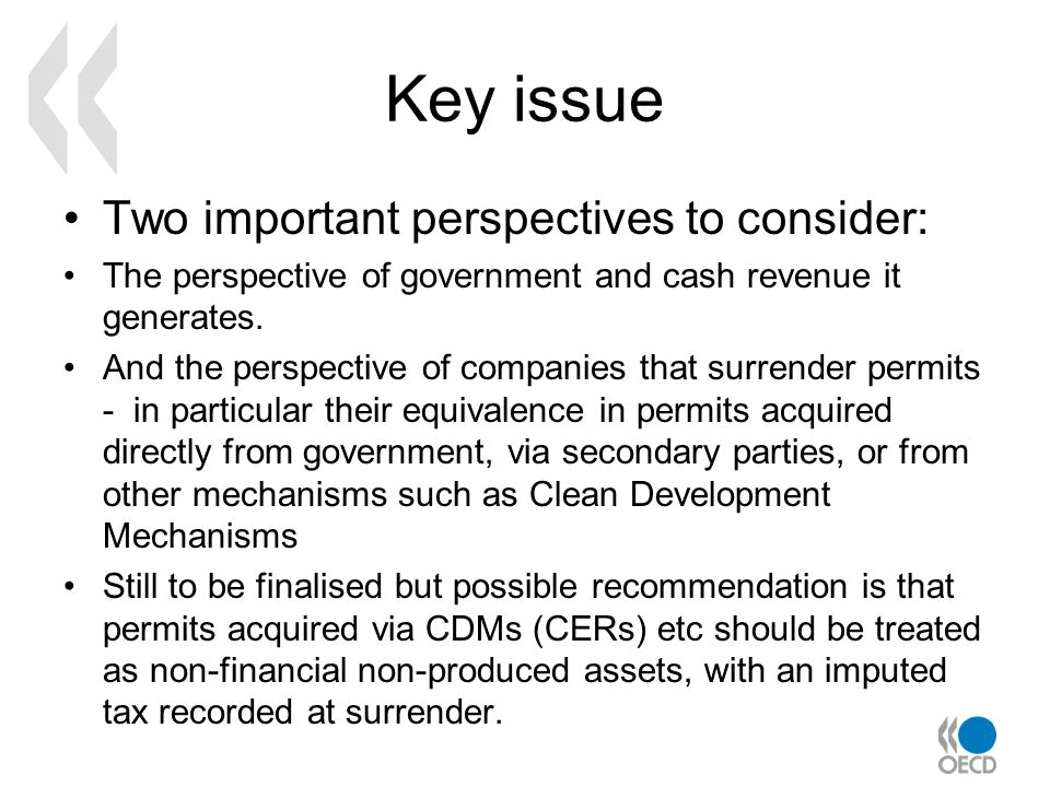 Key issue Two important perspectives to consider: The perspective of government and cash revenue it generates. And the perspective of companies that s