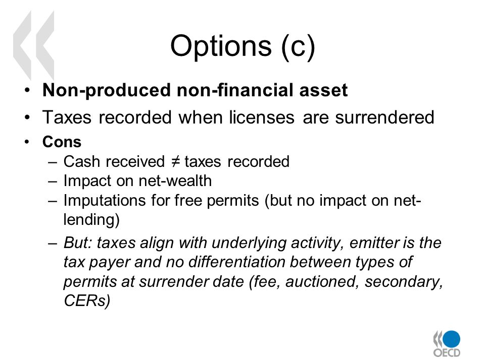 Options (c) Non-produced non-financial asset Taxes recorded when licenses are surrendered Cons –Cash received taxes recorded –Impact on net-wealth –Im