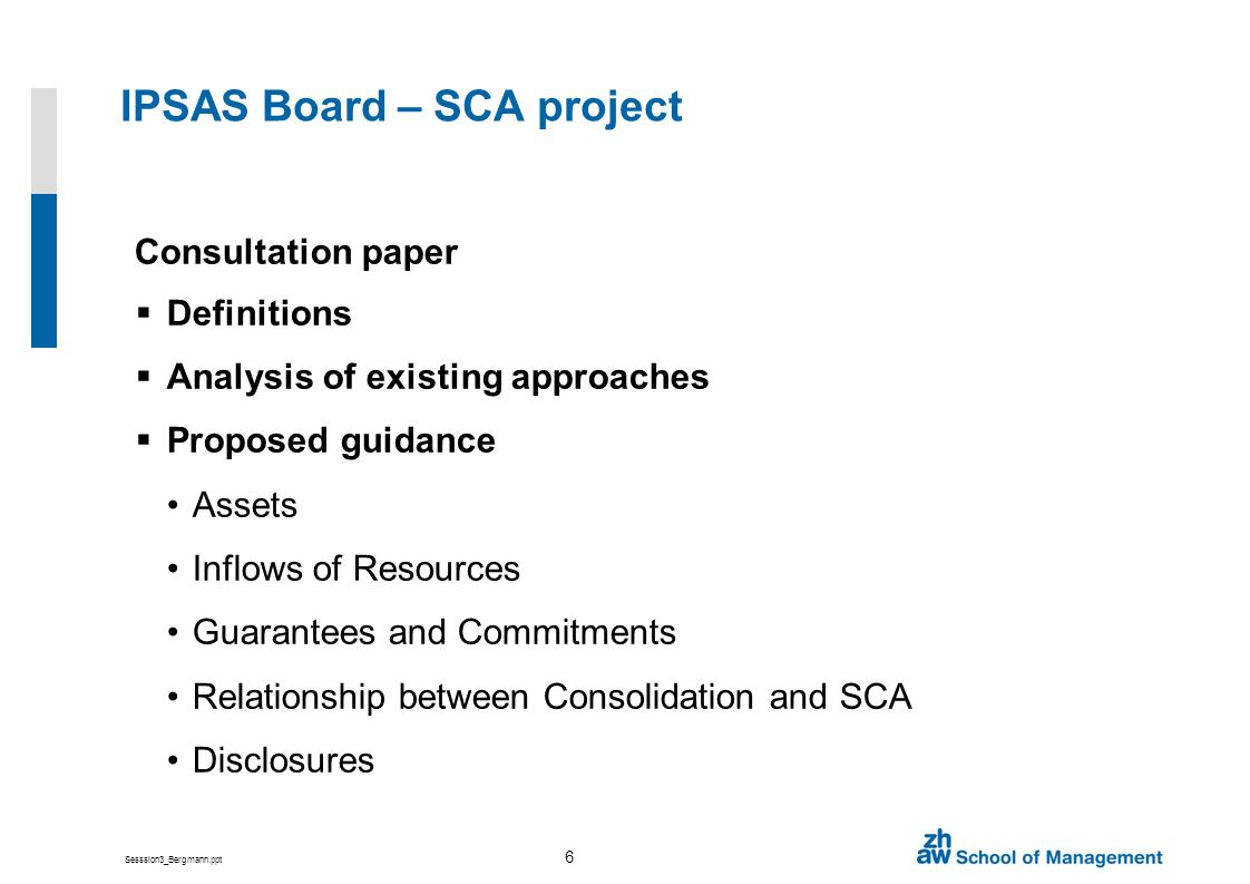 Sesssion3_Bergmann.ppt 6 IPSAS Board – SCA project Consultation paper Definitions Analysis of existing approaches Proposed guidance Assets Inflows of Resources Guarantees and Commitments Relationship between Consolidation and SCA Disclosures