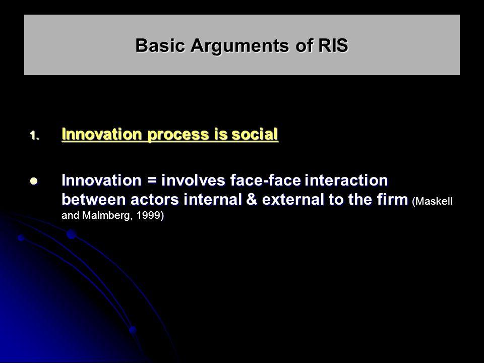 1. Innovation process is social Innovation = involves face-face interaction between actors internal & external to the firm ( ) Innovation = involves f