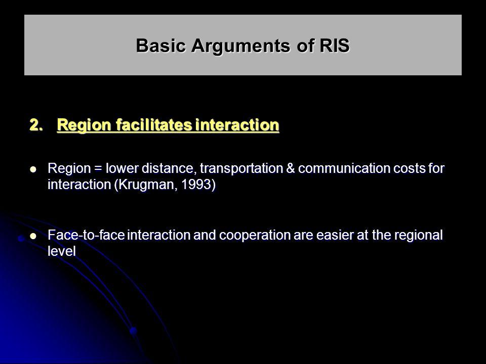 2. Region facilitates interaction Region = lower distance, transportation & communication costs for interaction (Krugman, 1993) Region = lower distanc
