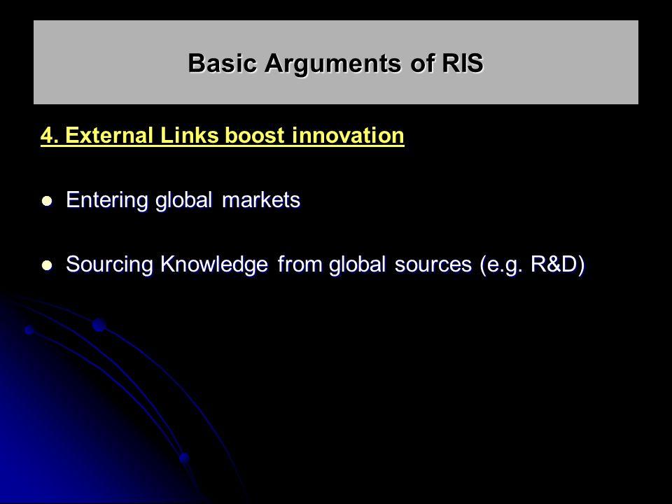4. External Links boost innovation Entering global markets Entering global markets Sourcing Knowledge from global sources (e.g. R&D) Sourcing Knowledg