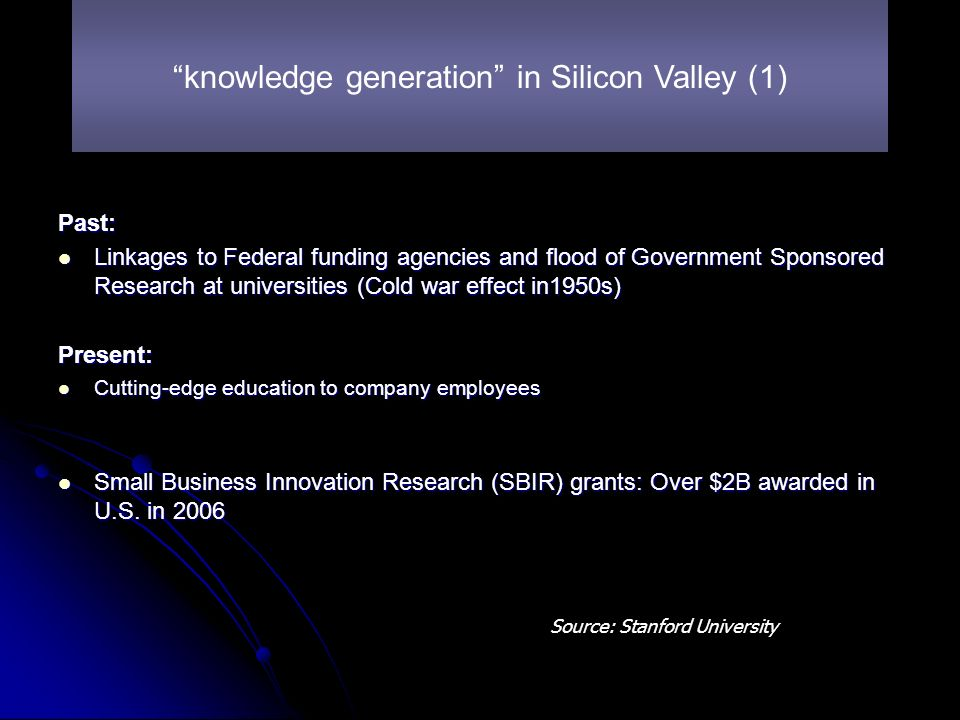 Past: Linkages to Federal funding agencies and flood of Government Sponsored Research at universities (Cold war effect in1950s) Linkages to Federal funding agencies and flood of Government Sponsored Research at universities (Cold war effect in1950s)Present: Cutting-edge education to company employees Cutting-edge education to company employees Small Business Innovation Research (SBIR) grants: Over $2B awarded in U.S.
