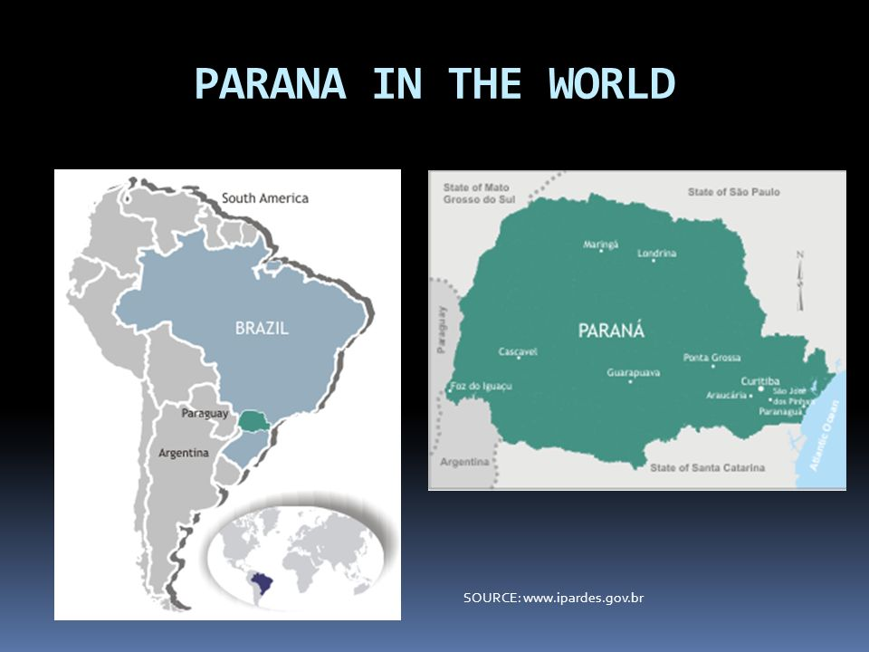 PARANA IN THE WORLD SOURCE: www.ipardes.gov.br