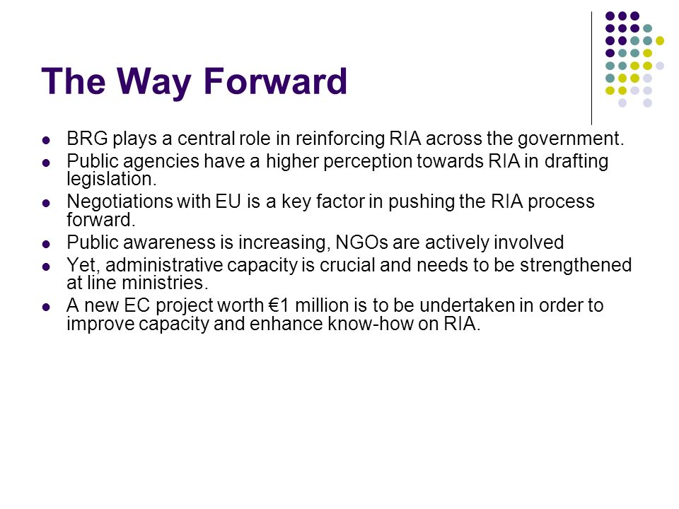 The Way Forward BRG plays a central role in reinforcing RIA across the government.