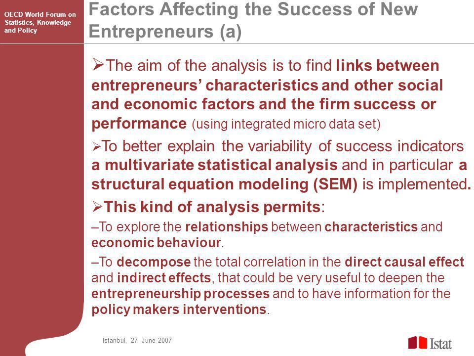 Factors Affecting the Success of New Entrepreneurs (a) Istanbul, 27 June 2007 OECD World Forum on Statistics, Knowledge and Policy The aim of the analysis is to find links between entrepreneurs characteristics and other social and economic factors and the firm success or performance (using integrated micro data set) To better explain the variability of success indicators a multivariate statistical analysis and in particular a structural equation modeling (SEM) is implemented.