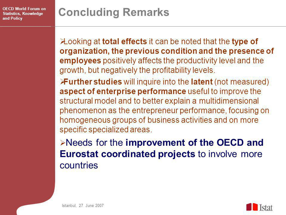 Concluding Remarks Istanbul, 27 June 2007 OECD World Forum on Statistics, Knowledge and Policy Looking at total effects it can be noted that the type of organization, the previous condition and the presence of employees positively affects the productivity level and the growth, but negatively the profitability levels.