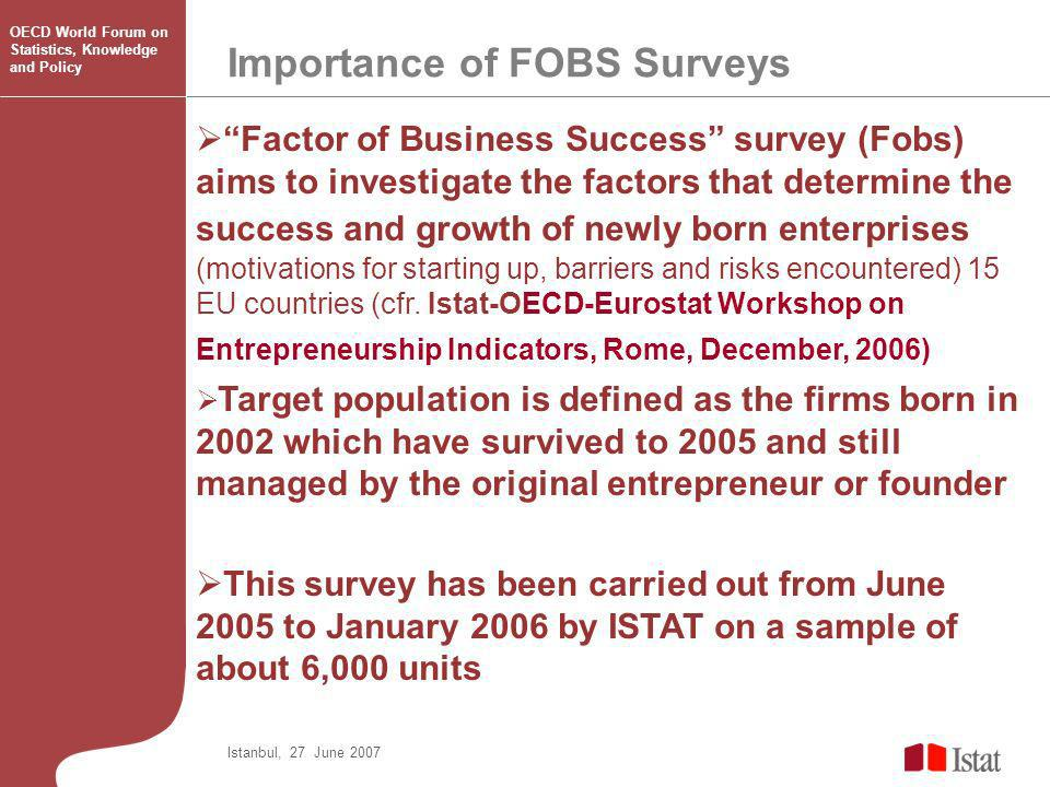 Factor of Business Success survey (Fobs) aims to investigate the factors that determine the success and growth of newly born enterprises (motivations