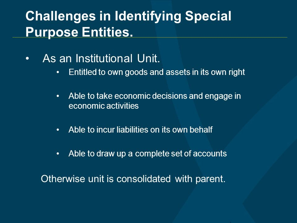 Challenges in Identifying Special Purpose Entities.