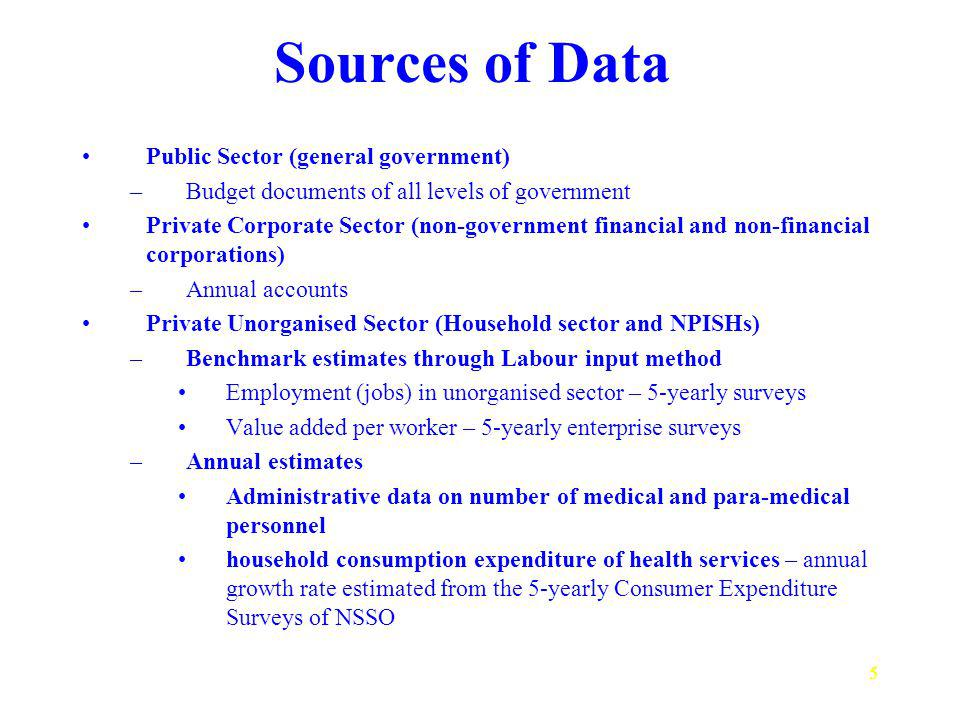 5 Sources of Data Public Sector (general government) –Budget documents of all levels of government Private Corporate Sector (non-government financial