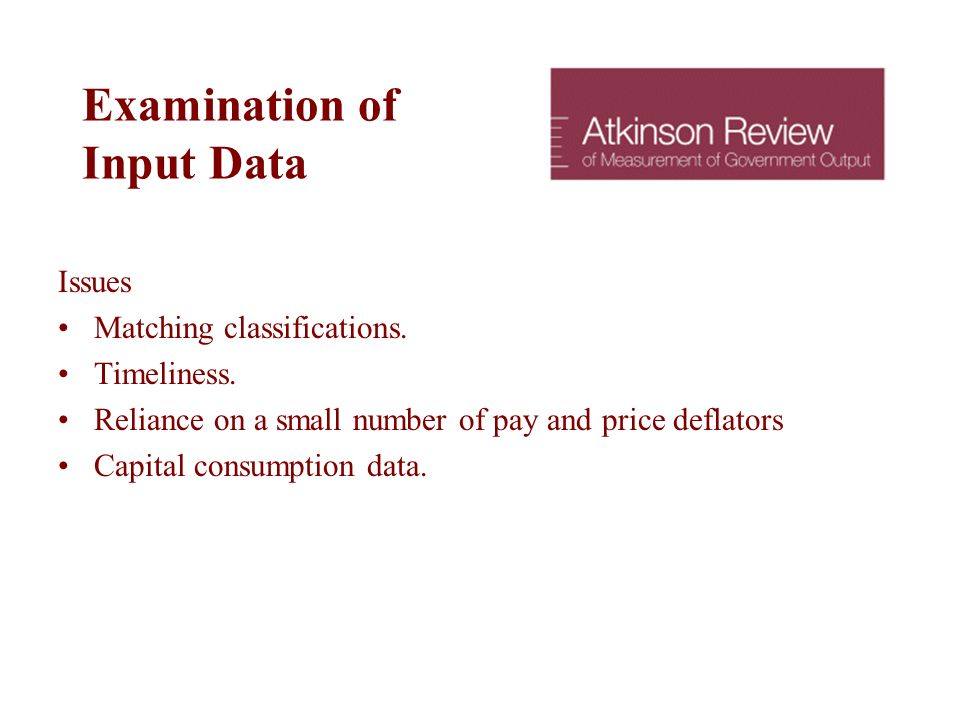 Examination of Input Data Issues Matching classifications.