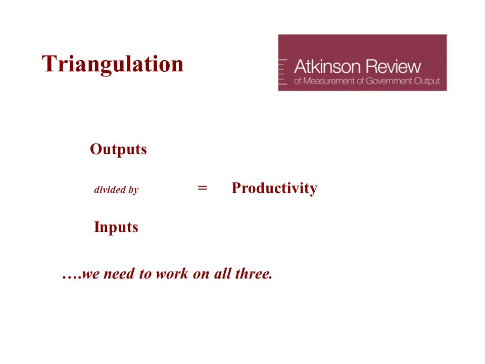Triangulation Outputs divided by = Productivity Inputs ….we need to work on all three.