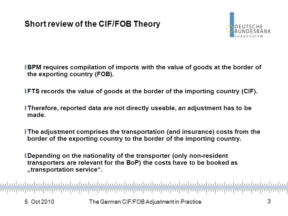 5. Oct 2010The German CIF/FOB Adjustment in Practice 3 Short review of the CIF/FOB Theory BPM requires compilation of imports with the value of goods