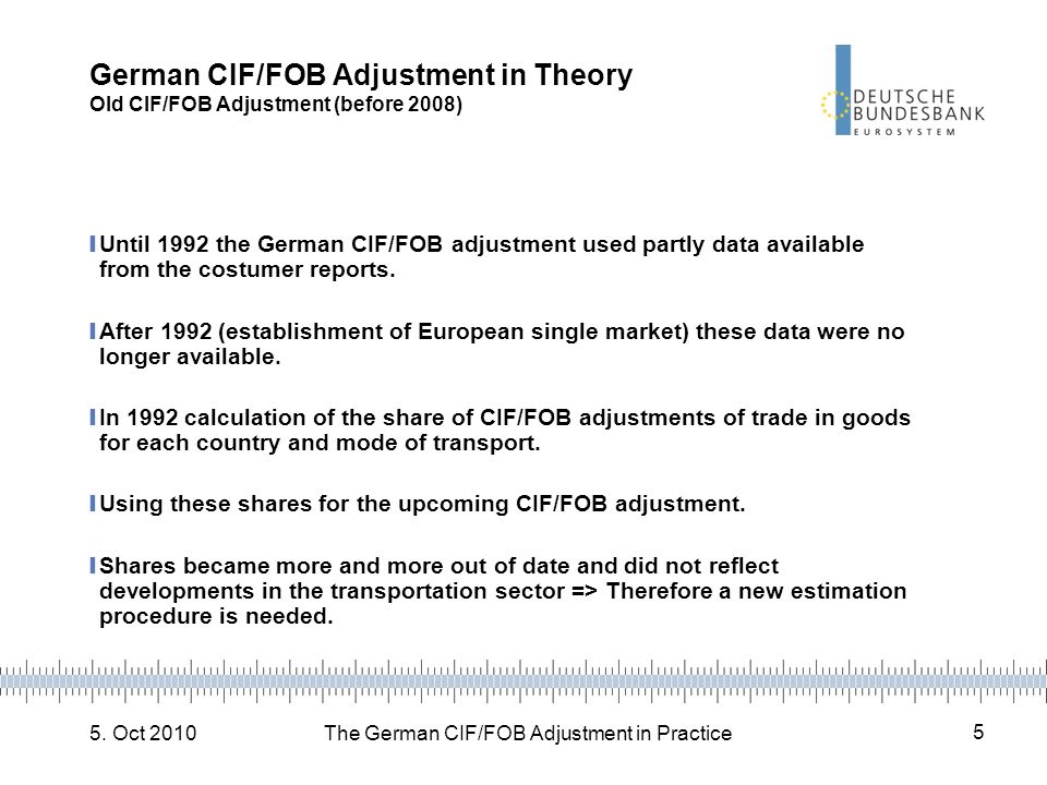 5. Oct 2010The German CIF/FOB Adjustment in Practice 5 German CIF/FOB Adjustment in Theory Old CIF/FOB Adjustment (before 2008) Until 1992 the German