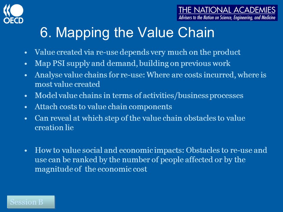 6. Mapping the Value Chain Value created via re-use depends very much on the product Map PSI supply and demand, building on previous work Analyse valu