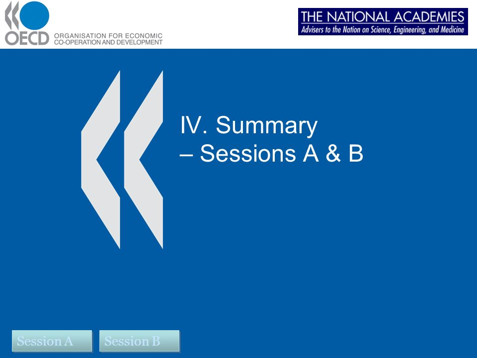 IV. Summary – Sessions A & B Session B Session A