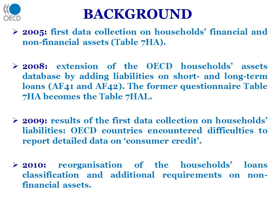 BACKGROUND 2005: first data collection on households financial and non-financial assets (Table 7HA). 2008: extension of the OECD households assets dat