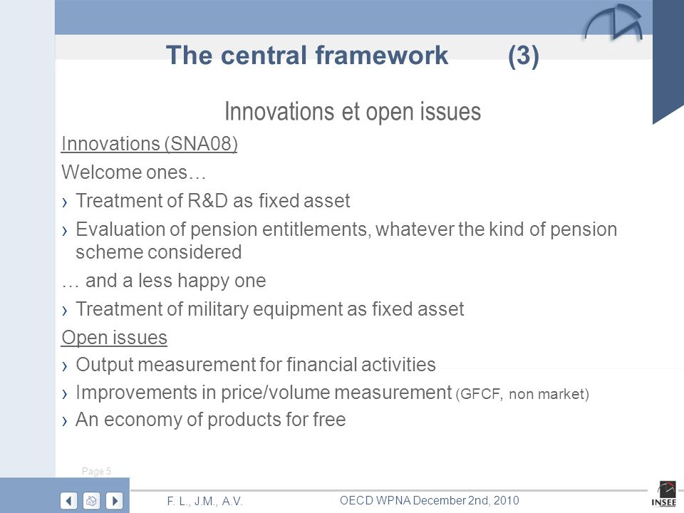 Page 5 F. L., J.M., A.V. OECD WPNA December 2nd, 2010 Innovations et open issues Innovations (SNA08) Welcome ones… Treatment of R&D as fixed asset Eva