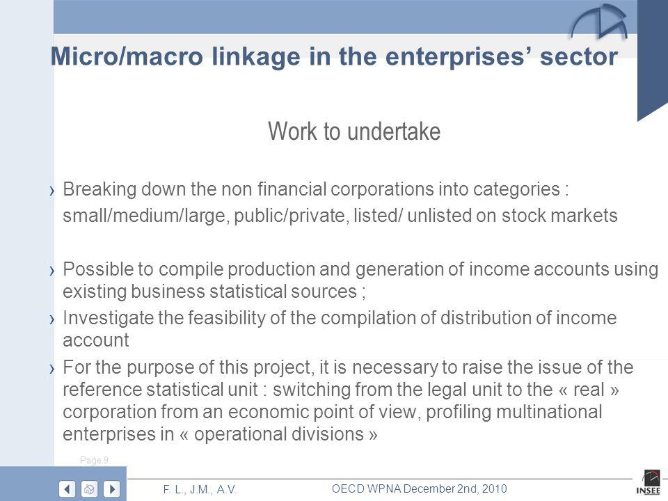 Page 9 F. L., J.M., A.V. OECD WPNA December 2nd, 2010 Work to undertake Breaking down the non financial corporations into categories : small/medium/la