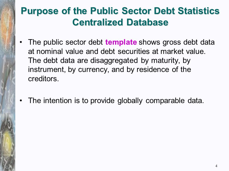 Purpose of the Public Sector Debt Statistics Centralized Database 4 The public sector debt template shows gross debt data at nominal value and debt securities at market value.