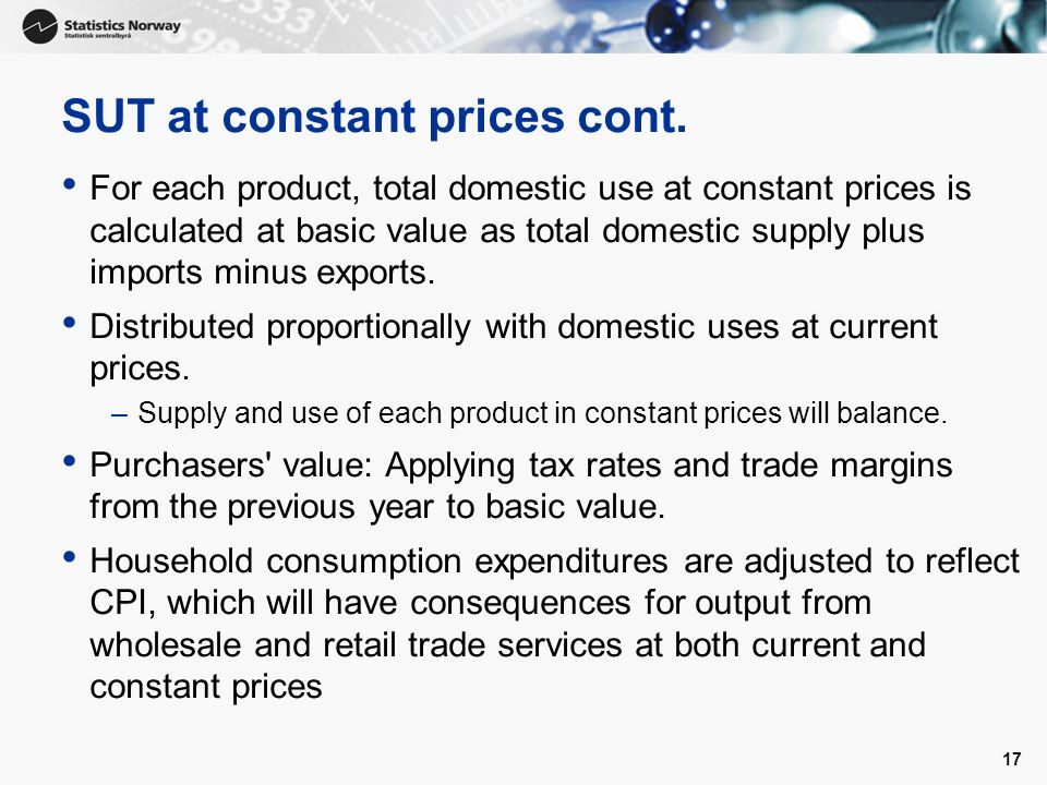 17 SUT at constant prices cont.