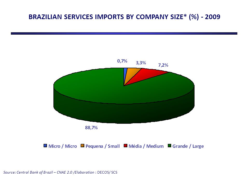 BRAZILIAN SERVICES IMPORTS BY COMPANY SIZE* (%) - 2009 Source: Central Bank of Brazil – CNAE 2.0 /Elaboration : DECOS/ SCS