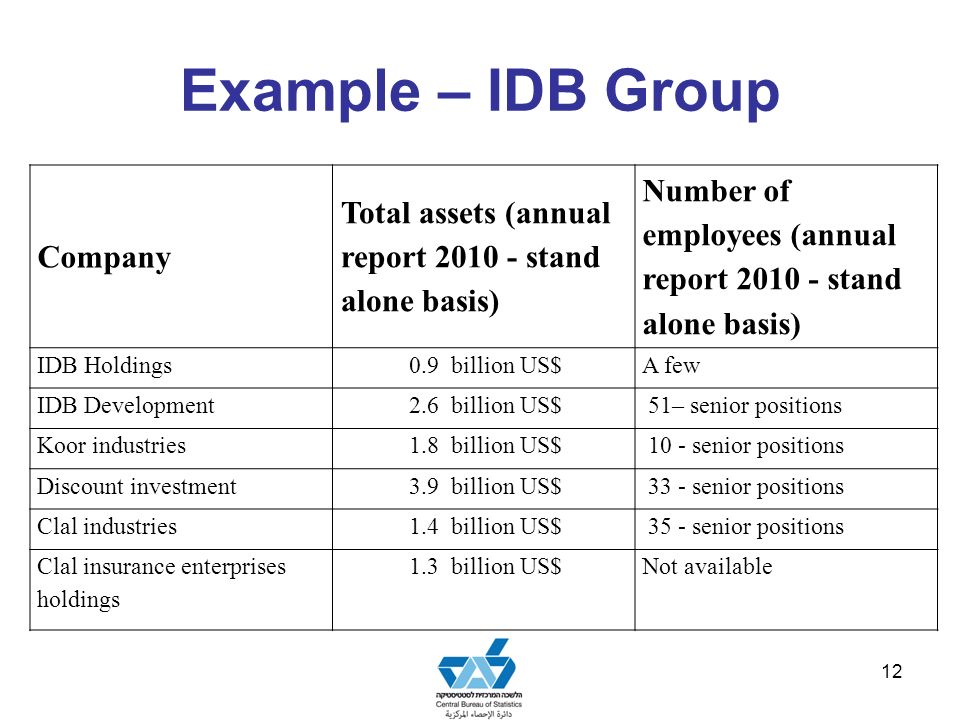 Example – IDB Group 12 Company Total assets (annual report 2010 - stand alone basis) Number of employees (annual report 2010 - stand alone basis) IDB Holdings0.9 billion US$A few IDB Development2.6 billion US$ 51 – senior positions Koor industries1.8 billion US$ 10 - senior positions Discount investment3.9 billion US$ 33 - senior positions Clal industries1.4 billion US$ 35 - senior positions Clal insurance enterprises holdings 1.3 billion US$Not available