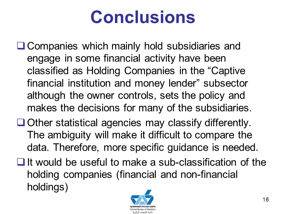 Conclusions Companies which mainly hold subsidiaries and engage in some financial activity have been classified as Holding Companies in the Captive financial institution and money lender subsector although the owner controls, sets the policy and makes the decisions for many of the subsidiaries.