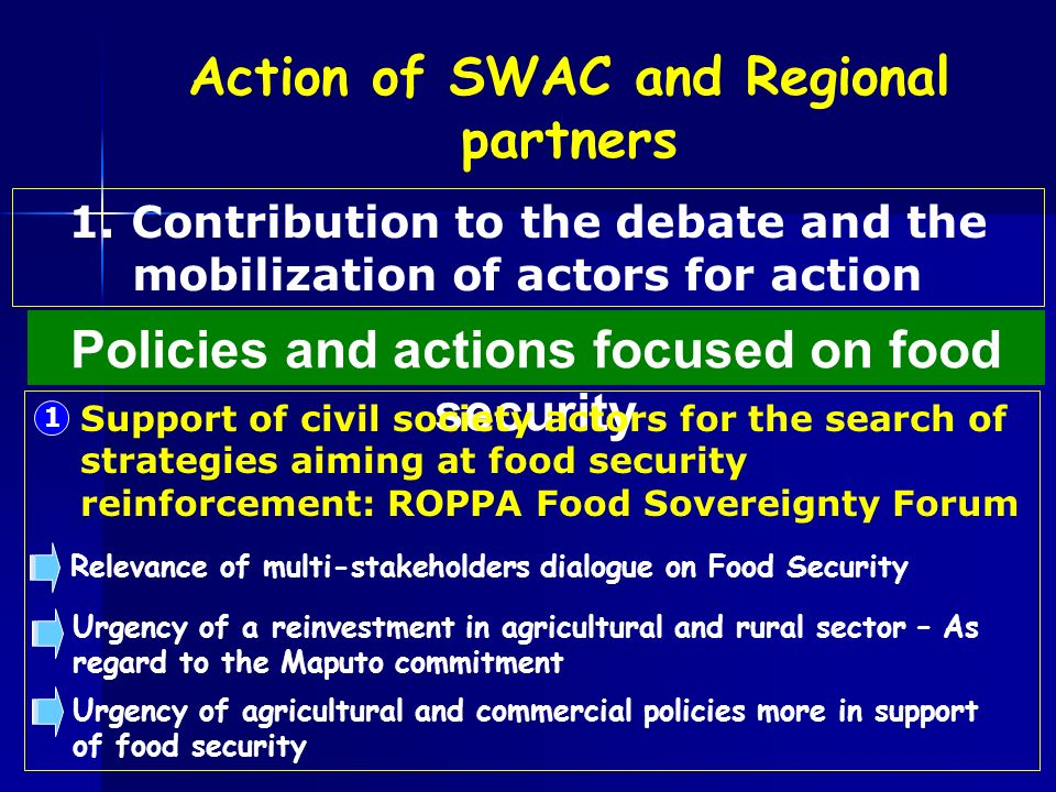 Policies and actions focused on food security 1 Support of civil society actors for the search of strategies aiming at food security reinforcement: RO