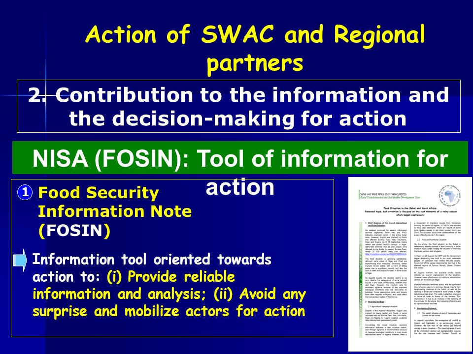 2. Contribution to the information and the decision-making for action NISA (FOSIN): Tool of information for action Action of SWAC and Regional partner