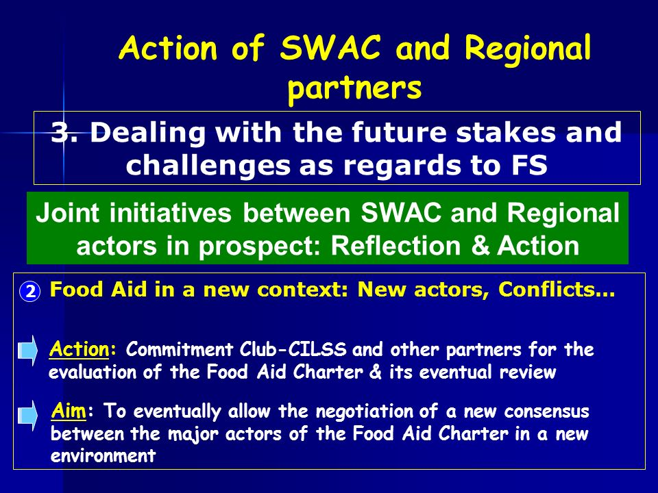 2 Food Aid in a new context: New actors, Conflicts… Action: Commitment Club-CILSS and other partners for the evaluation of the Food Aid Charter & its eventual review Aim: To eventually allow the negotiation of a new consensus between the major actors of the Food Aid Charter in a new environment Joint initiatives between SWAC and Regional actors in prospect: Reflection & Action 3.