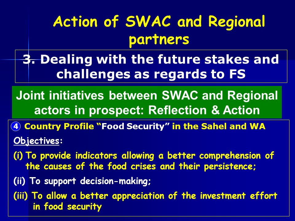 Country Profile Food Security in the Sahel and WA 4 Objectives: (i)To provide indicators allowing a better comprehension of the causes of the food cri