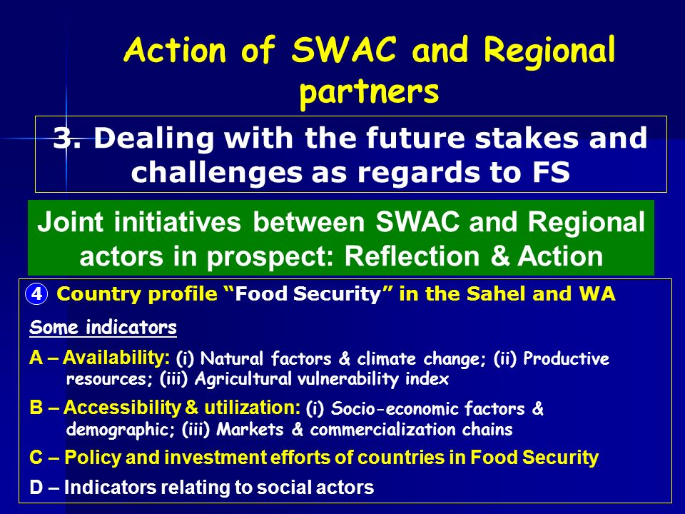 4 Country profile Food Security in the Sahel and WA Some indicators A – Availability: (i) Natural factors & climate change; (ii) Productive resources; (iii) Agricultural vulnerability index B – Accessibility & utilization: (i) Socio-economic factors & demographic; (iii) Markets & commercialization chains C – Policy and investment efforts of countries in Food Security D – Indicators relating to social actors Joint initiatives between SWAC and Regional actors in prospect: Reflection & Action 3.