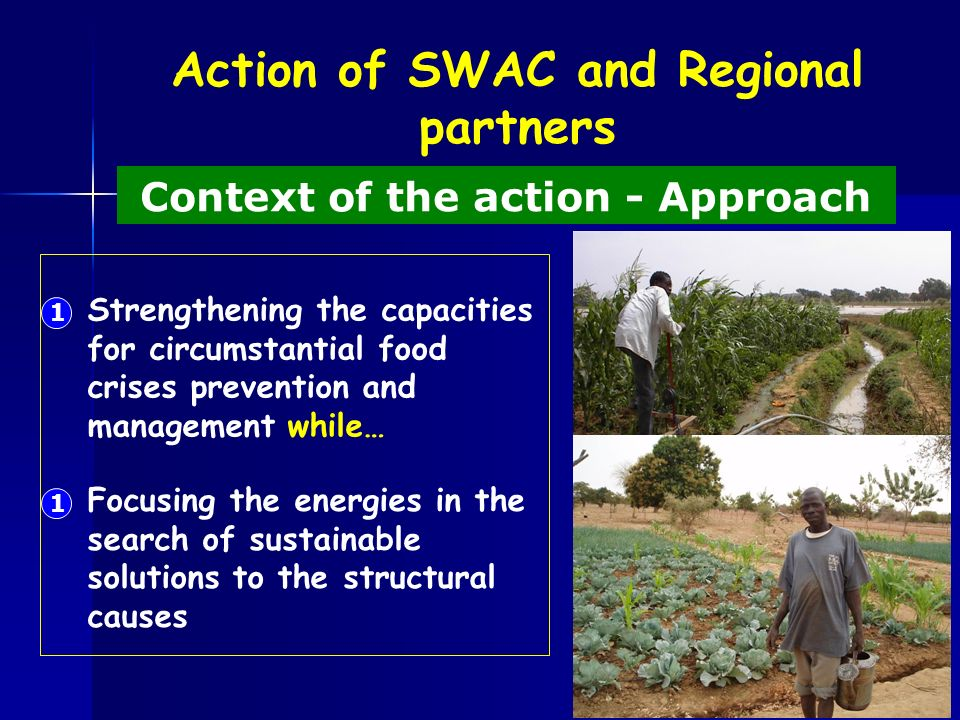 Action of SWAC and Regional partners Context of the action - Approach Strengthening the capacities for circumstantial food crises prevention and management while… 1 Focusing the energies in the search of sustainable solutions to the structural causes 1