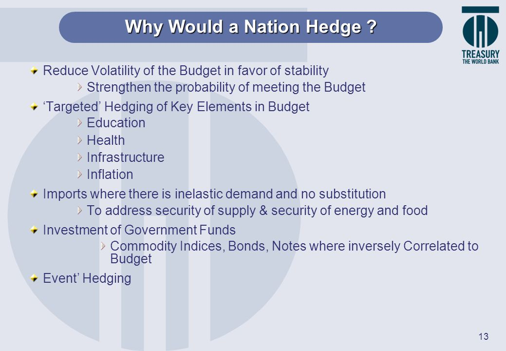 13 Why Would a Nation Hedge ? Reduce Volatility of the Budget in favor of stability Strengthen the probability of meeting the Budget Targeted Hedging