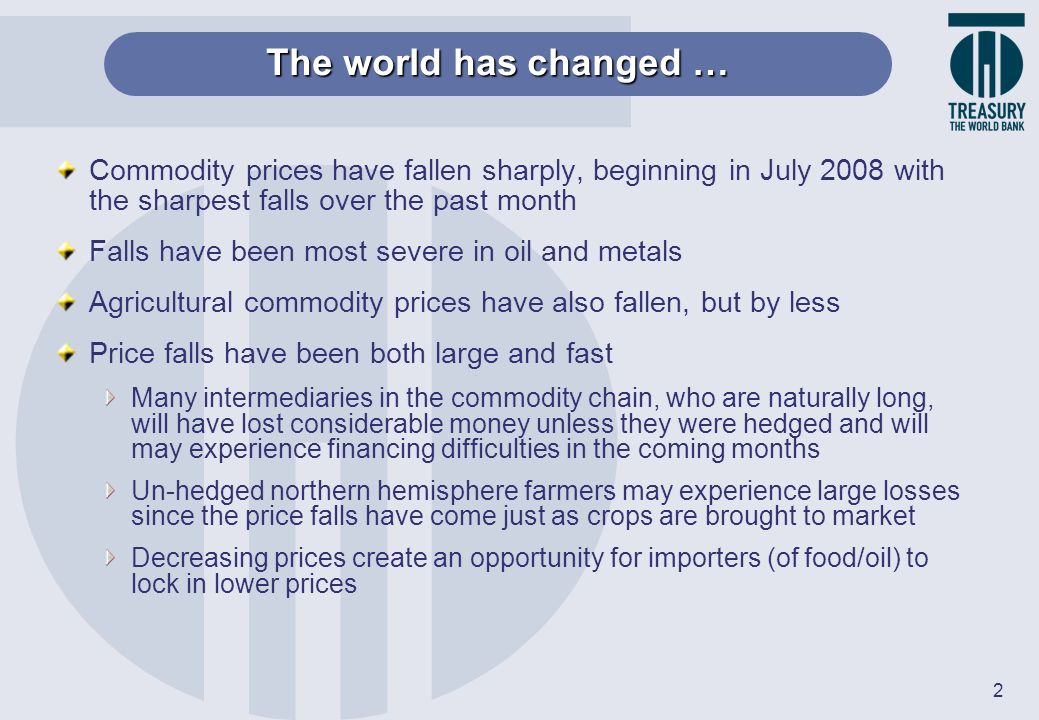 2 Commodity prices have fallen sharply, beginning in July 2008 with the sharpest falls over the past month Falls have been most severe in oil and meta