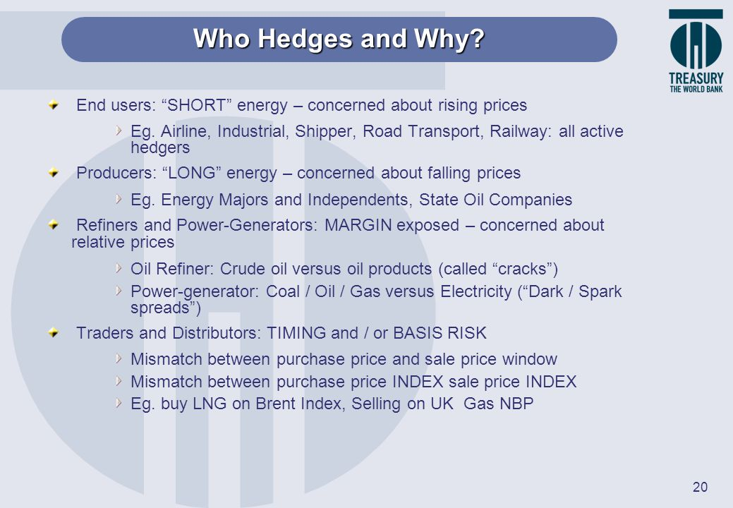20 End users: SHORT energy – concerned about rising prices Eg. Airline, Industrial, Shipper, Road Transport, Railway: all active hedgers Producers: LO