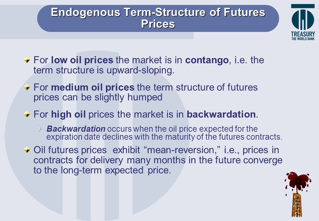 Endogenous Term-Structure of Futures Prices For low oil prices the market is in contango, i.e. the term structure is upward-sloping. For medium oil pr