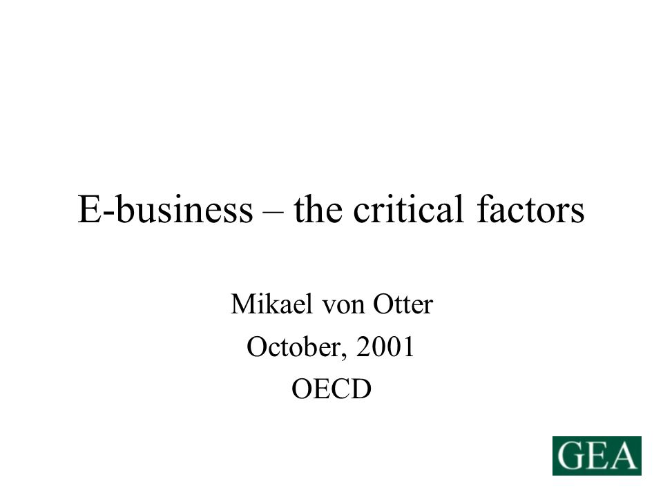E-business – the critical factors Mikael von Otter October, 2001 OECD