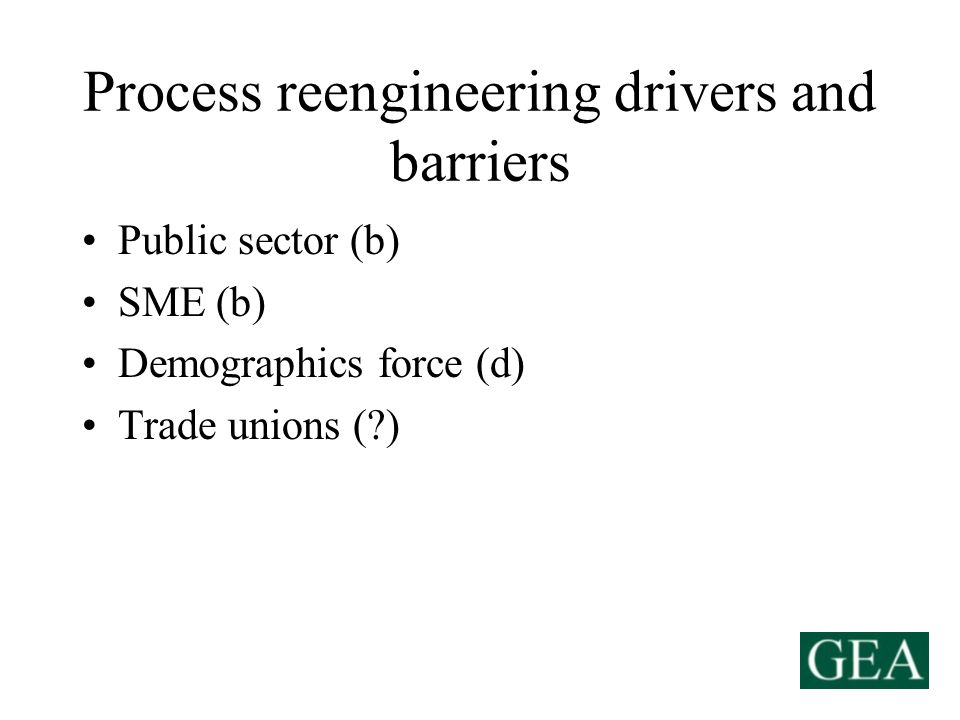 Process reengineering drivers and barriers Public sector (b) SME (b) Demographics force (d) Trade unions ( )